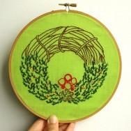 Happy Holidays! Gathering twigs and leaves to make an embroidered wreath was a delightful adventure. Come next holiday season, I know what I will hang on my doorway.