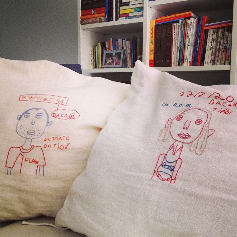 our embroidered portraits, made by my 7 year old niece