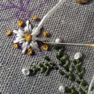Close up of embroidered flower