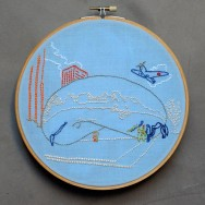 Embroidered illustration of Cloudgate in Chicago for the air Embroidery Club