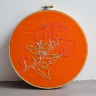 Embroidered illustration of bougainvilleas for the air Embroidery Club